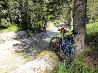 Sosta lungo il torrente che costeggia la ciclabile Cortina - Dobbiaco. Trasparente frescura.