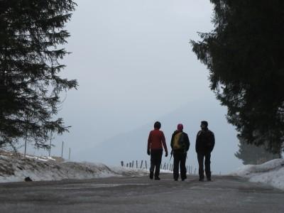 Da Pian Osteria, su strada coperta da residui di neve e ghiaccio, andiamo a sud, lasciando il Caseificio Valmenera sulla sinistra.