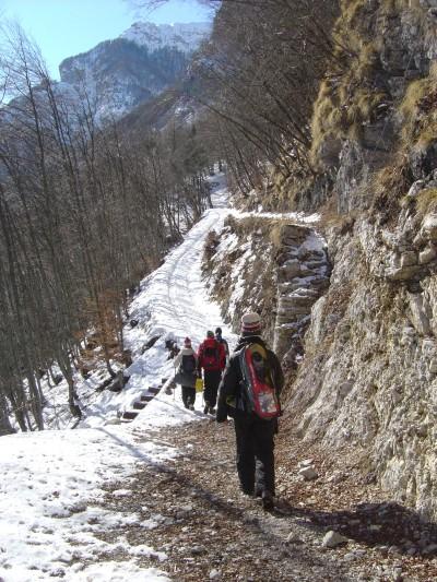 La prima parte del percorso si snoda su strada forestale con ottimo fondo.