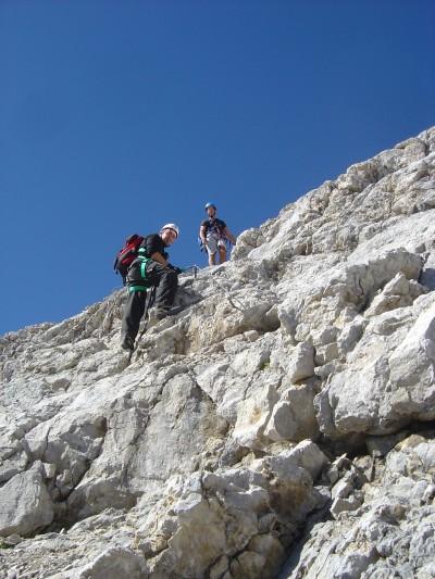 La salita alla cima Tofana di Dentro. La parte piu' assolata della ferrata Formenton.