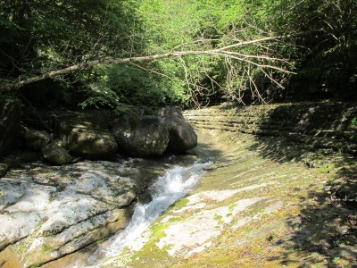 Il letto del Picchions, caratterizzato da strati orizzontali erosi. Semplice da percorrere, ma comunque richiede attenzione per non scivolare sulle rocce umide.