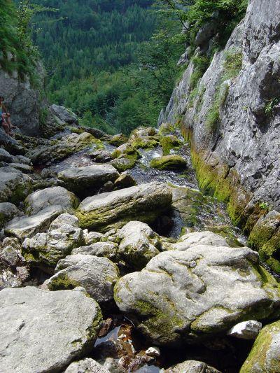 Ecco le prime traccie di Isonzo. Qui, a meno di dieci metri dalla grotta, le acque dell'Isonzo iniziano a vedere la luce. Da qui sara' un viaggio tutto in discesa... Si comincia!!!