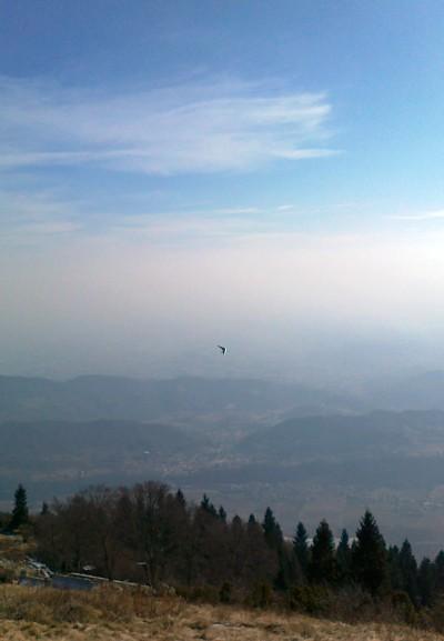 Eccoli, uomini volanti che a tratti si avvicinano per poi sparire nell'azzuro. Se ne vedono diversi da queste parti, sono quasi integrati con l'azzurro del cielo ed il verde degli alberi.