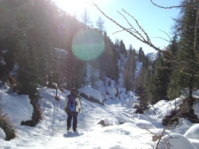 Patenza! Appena individuato il sentiero e testate le ciaspe sul ghiaccio, decido che il rumore che producono e' troppo. Meglio riagganciarle allo zaino e procedere con scarponi e... Cautela!