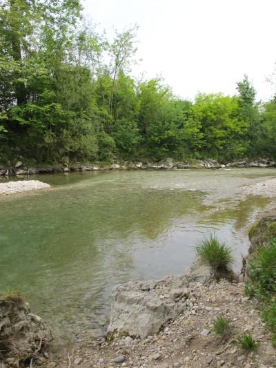 Il letto del Meschio, in uno dei tratti in cui si riesce a raggiungere l'acqua.
