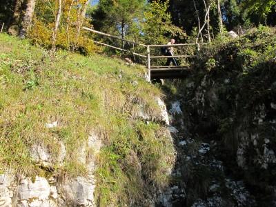 Subito il sentiero ci rallegra con un piccolo ponte tra due rocce.