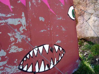 Particolare simpatico del Bivacco Marmol! Sul fianco e sul retro alcuni adesivi lo rendono una sorta di animale dai denti aguzzi!