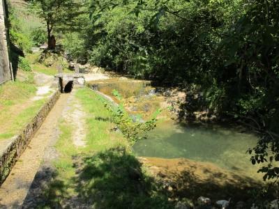 Qui vengono ripartite le acque. Una piccola parte alimenta la canaletta e tutta l'acqua restante se ne scende tranquilla lungo il letto del Rujo.