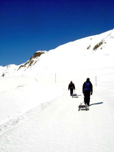 Dopo la discesa a Grindelwald, si sale sul versante opposto della valle (bus e cabinovia) e poi si procede a piedi verso il punto in cui la pista da slittino inizia a scendere.
