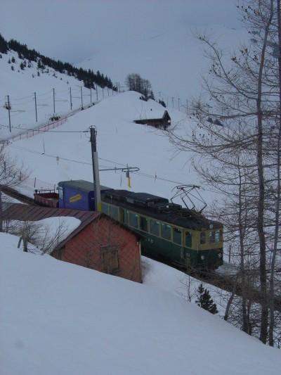 Uno dei tanti trenini a cremagliera mentre passa davanti all'Hotel Jungfrau (Wengernalp). Troppo tipico!